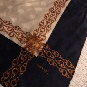 "Vintage Channel silk scarf 33""square"